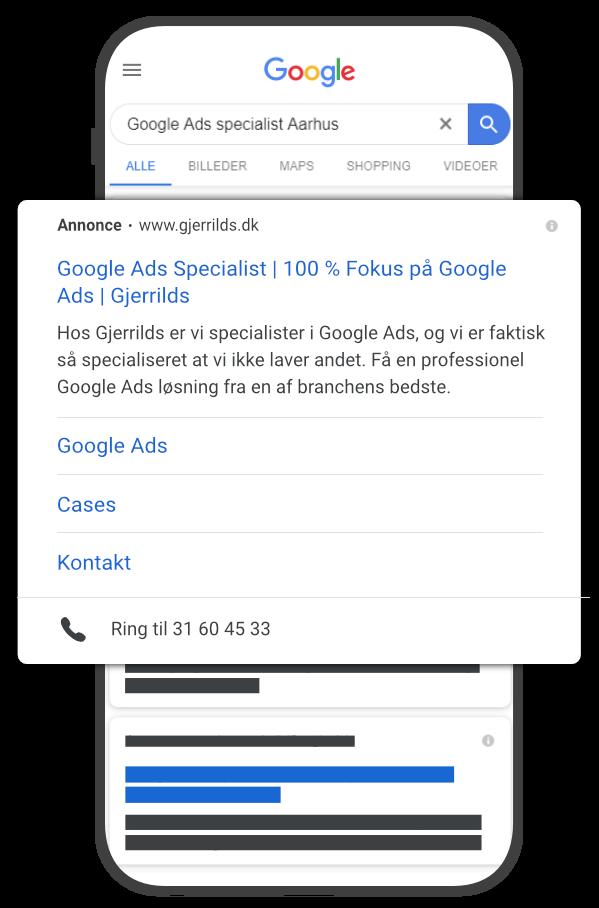 Google Ads søgning på telefon